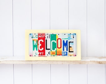 WELCOME sign -  License Plate Art - Gift for New Home