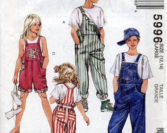 Bib Overalls for Kids pattern, McCall's 5996, Size Large (12, 14), shorts, pedal pushers
