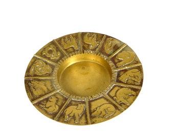 Vintage Chinese Zodiac Brass Bowl Chinese New Year Zodiac Brass Round Candle Holder Chinese Zodiac Brass Dish Boho Home Decor Asian Decor