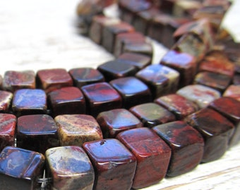 Bristol Agate Beads 6mm Marbled Coffee Brown-Brick RedSmooth 3D Cubes - 20 Pieces