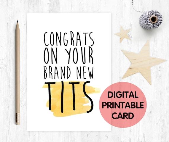 new boobs card, Boobs, Boob Job, Breast Surgery, funny boob job card, printable congrats on your new boobs