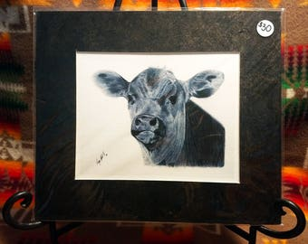 "Western Calf Pencil Fine Art Print ""Curiosity"" 11"" x 9.5"" Cow Print by Megan Stark"