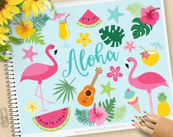 Flamingo Clipart - Summer, beach, Tropical plants, ice-cream, cocktails, pink hibiscus, Commercial use, Vector Clip Art, SVG Files