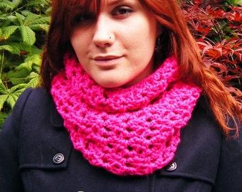 Women's Cowl Chunky Bright Pink Crochet Winter Accessory