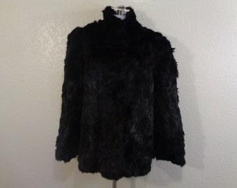 Vintage Black Rabbit Fur Stand Up Collar New Wave Jacket Sz XL