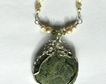N-6  Moss Agate Wirewrapped Necklace Sterling Silver, Gemstone Pendant, Gemstone Necklace, Agate Pendant, Agate Necklace