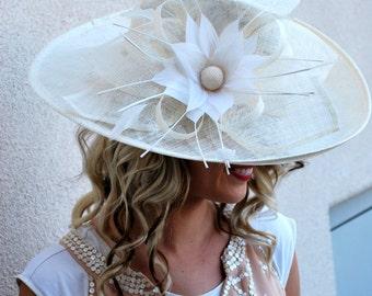 Ivory Derby Hat, Tea Party Hat, Formal Hat, Chruch Hat, Fashion Hat, Church Hat, Derby Hat, Wedding Hat, Funeral Hat, Turquoise Hat