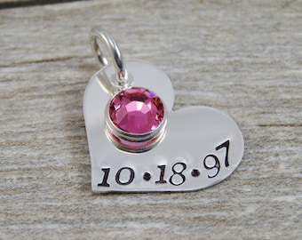 Hand Stamped Jewelry - Personalized Jewelry - Charm For Necklace - Sterling Silver Heart - Date & Birthstone