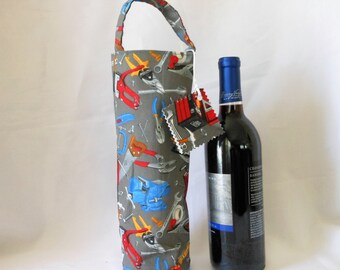 wine tote with construction tools theme, Father's Day or birthday gift bag for him or her, beer wine or their favorite beverage