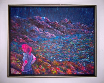 "ORIGINAL PAINTING 16x20"" Large Colorful Framed Acrylic on Canvas - ""girl at lake in starlight"""