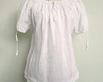 Handmade cotton blouse (short sleeves)