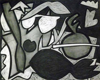 Chestnut Park Number 20 Abstract Charcoal Drawing