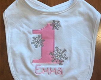 Pink and Grey Winter Onederland Bib With Pink Name Embroidery