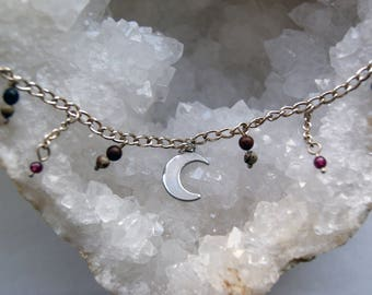Sterling silver crescent moon choker, gemstone beaded chain necklace