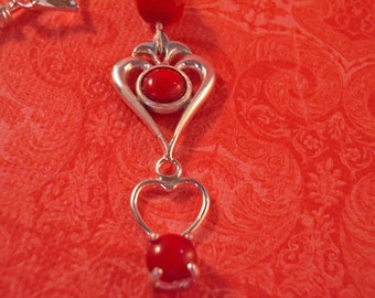 Coral Necklace - Red Coral and Sterling Silver Necklace - One of a Kind Triple Heart Coral Necklace