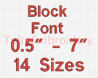 Block Font 14 Sizes Embroidery Design