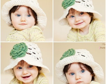 CROCHET PATTERN - Summer Fling Sun Hat with 3 Layer Flower - All sizes included - Fast and Easy - PDF 103 - Sell what you Make