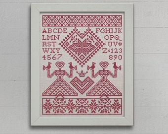 My Norwegian Valentine - An Alphabet Sampler - Instant Download PDF booklet