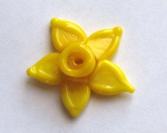 Yellow Daffodil Bead Yellow Sculptural Lampwork Glass Bead SRA