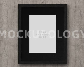 5x7 artwork in 8x10 BLACK mat FRAME MOCKUP