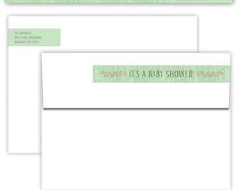 Woodland Theme SkinnyStyle Wrap Around Return Address Label Template - Printable --- Green --- #B330-SL1-D
