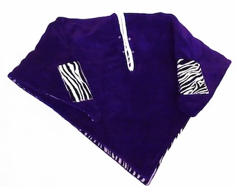 Car Seat Poncho 4 Kozy Kids (TM)-pockets, double sided, reversible, detachable hood & batting, safe, warm-black and white zebra/purple