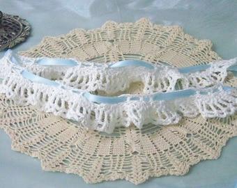 Spitze Strumpfband, Bridal Strumpfband, etwas, häkeln Strumpfband, gehäkelten, Spitzen Strumpfband, Braut etwas blau, weiß Strumpfband, bereit zu versenden