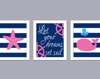 Let Your Dreams Set Sail - Girl Nautical Nursery - Pink Navy Nautical Nursery Art - Nautical Nursery Art