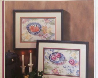 Peaches & Plums/Counted Cross Stitch Patterns by Color Charts/1990/Wall Hanging/Needlecraft/Vintage Pattern