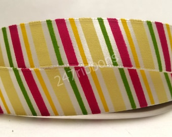 "Colorful Vibrant Striped Satin Ribbon 5/8"" Scrapbooking HairBows Parties DIY Projects az237"
