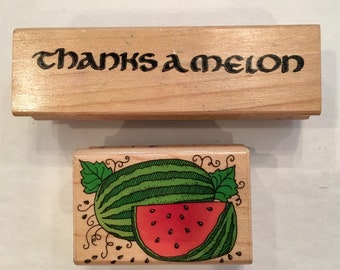 Cute used set 2 rubber stamps thanks  a melon and a watermelon slice Destash Wooden Bases
