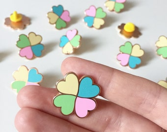 Lucky Clover enamel pin / pastel enamel pin / lucky enamel pin / rose gold pin / hard enamel pin / lucky clover badge / heart enamel pin