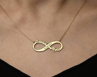 Personalized Infinity Necklace Infinity Necklace Gold Necklace Infinity Name Necklace Personalized Gift Bridesmaid Gift Jewelry Mother's Day