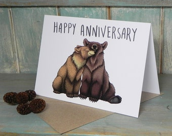 Bear Couple Illustration 'Happy Anniversary' Greeting Card - 280gsm White Card 177 x 127mm Blank Inside with Brown Recycled Envelope