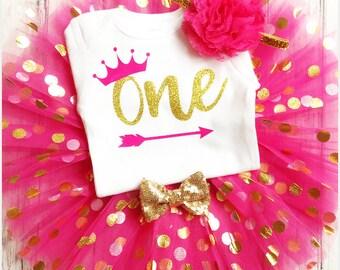 Baby Girl Birthday Outfit, 1st Birthday Girl Outfit, Gold One 1st Birthday Outfit, First Birthday Outfit Girl, Pink and Gold Birthday, Crown