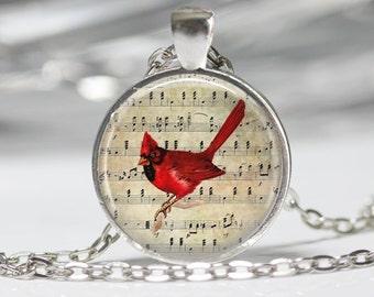 Cardinal Jewelry Cardinal Necklace Cardinal on Sheet Music