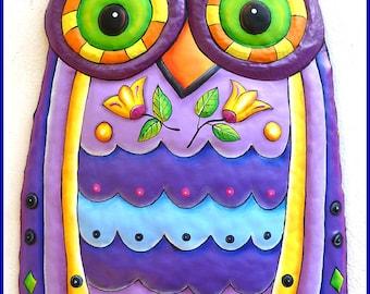 Metal Art, Owl Wall Hanging, Owl Decor, Garden Decor, Metal Wall Art, Garden Art, Painted Metal Art, Wall Art, Metal Wall Decor - J-351PU