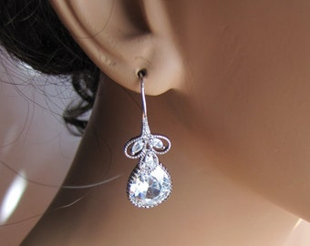 Bridal drop earrings, wedding jewelry with vintage inspired pear drop