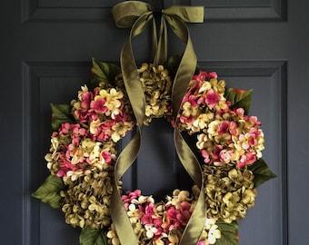 Wreaths | Blended Hydrangea Wreath | Front Door Wreaths | Spring Wreaths | Unique Wreath | Housewarming Gift
