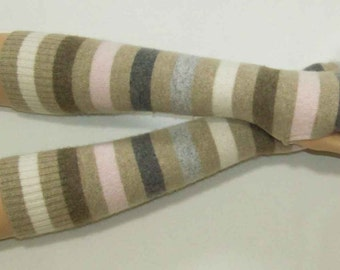 Cashmere, Multicolor, Delicate, Upcycled, Long, Soft and Warm Fingerless Gloves with Thumb Holes, IDEAL for HER