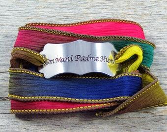 Silk Wrap Bracelet - Yoga Bracelet - Om Mani Padme Hum - Hand Stamped Bracelet - Buddhist Jewelry - Mantra