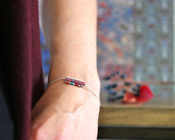 Burgundy bracelet with floral patterns and colored beads on sterling silver 'Eugenia'