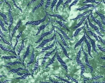 Tranquility Sage Leaves by Wing and a Prayer Design - Timeless Treasures #C6056 Sage - Green Blue Leaves Cotton Fabric - By the Yard