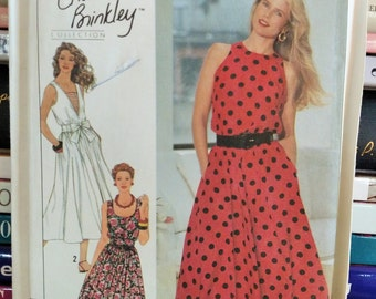 1990 Simplicity Christie Brinkley Collection 9695-Misses' Dress w Bodice Variations-Sleeveless-Flared Skirt-Tie Belt-Sundress-Sz-14-22-UNCUT