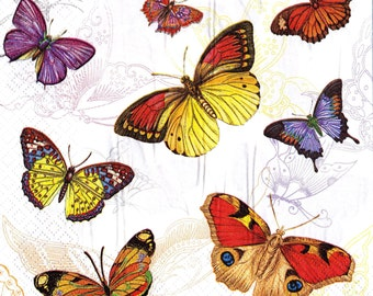 "6 Decoupage Napkins  Butterflies Butterfly  33x33 cm. 13""x13"" set of 6 pcs"