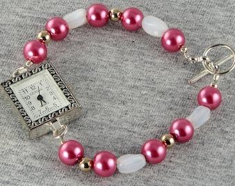 Handmade Pink Pearl Silver Watch