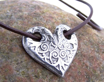 Through My Heart Necklace, Embossed Rustic Design Heart, Valentine Gift, Gift for Her, Patterned Heart Pendant, Slider Pendant