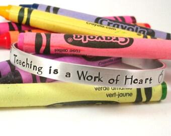 Teacher Appreciation Bracelet  - Teacher Gift - Teacher Year End Gift -  Hand Stamped - Teacher Appreciation - Teacher Cuff