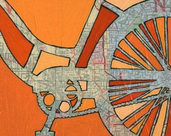 Atlanta - small print - orange bicycle art print of bike map featuring downtown Atlanta Georgia, Grant Park, Piedmont Park