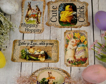 Easter Bunny Chick Tags PDF - collage sheet altered art Fun scrapbooking Labels digital uprint primitive paper old